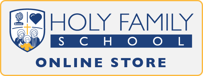 "Holy Family logo with ""Online Store"" below"