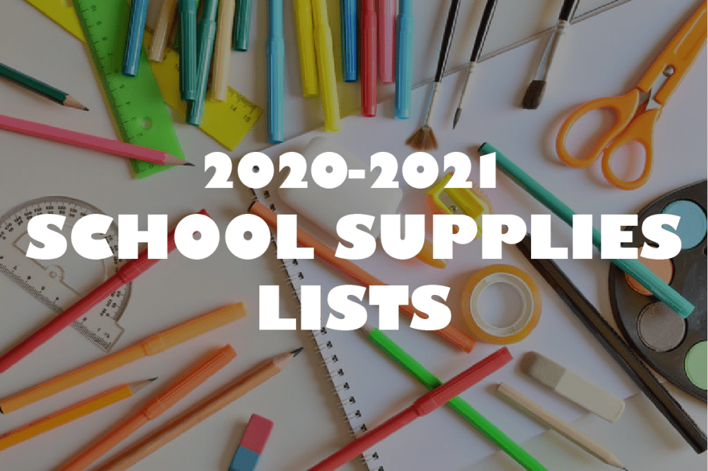 "Colorful school supplies overlayed with text ""2020-2021 school supplies list"""
