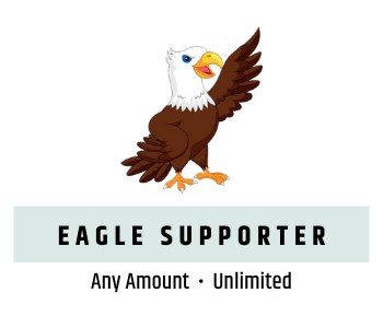 Graphic of Francis the Eagle and text reading Eagle Supporter, donate any amount, unlimited number