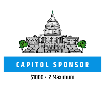 Graphic of US Capitol Building and text reading Capitol Sponsor, $1000, 2 Maximum