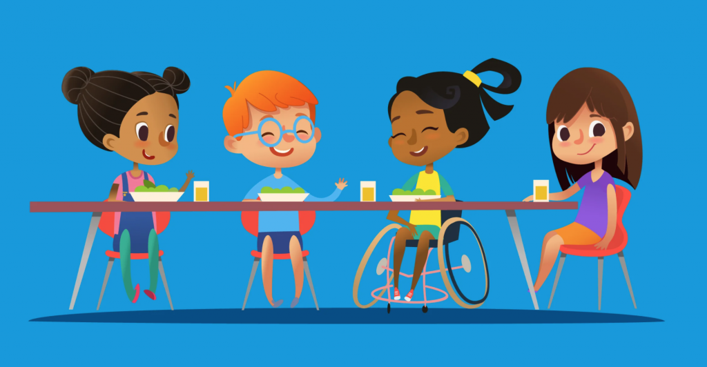 Cartoon of four diverse kids sitting at a cafeteria table