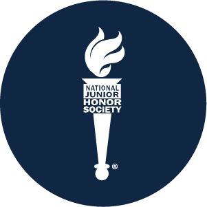 National Junior Honor Society Logo with white torch on blue background